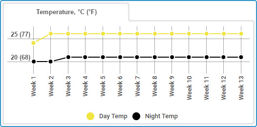 Gorilla Glue Autoflowering grow journal, temp chart